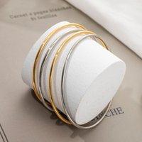 Bangle Simple And Fashionable Golden Titanium Steel Non-drop Pigment Ring Fine Bracelet Round Couple Female Accessory