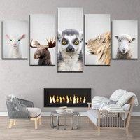 Unframed 5P 사자와 양 캔버스 페인팅 귀여운 동물 머리 벽 아트 HD 인쇄 그림 어린이 방 장식을위한 교수형 포스터