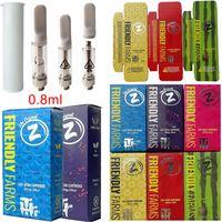 Amistosos granjas atomizadores vacíos vape bolígrafo cartuchos de envasado 0.8ml bobina de cerámica dab aceite cera vaporizador de vaporillos 510 hilo