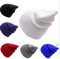 Chapeaux tricotés couleur pure couleur hiver laine extérieure casillons de crâne hip hop crochet capsse de ski chapeau chapeau chapeau chapeau de chapeau bouleversé boucherie tondre chunky headrear owc7587