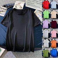 Women's T-Shirt Laamei 2021 Brand Womens Loose Pure Color Short Sleeve Women T Shirt For Female Slim Tops Woman Shirts Clothing