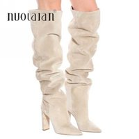 New Brand Women Boots Fashion High Heels Faux Suede Over The Knee High Slouchy Long Boots Winter Female Thigh High Boots Shoes Y0914
