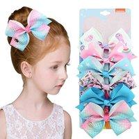 6 Pcs Set JoJo SiWa Hair Bows Vnicorn Mermaid Knot Ribbon Bow For Girls Children Boutique Hair Clip Hair Accessories