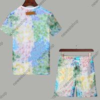2021 새로운 여름 디자이너 Tracksuits 세트 망 패션 블루 카모 인쇄 러닝 정장 티셔츠 반바지 Tshirts Top Sportswear Shirt M-3XL
