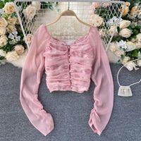 النساء الأزياء مطوي الشيفون بأكمام طويلة خياطة الرجعية المطبوعة قميص قصير روبا الفقرة موهير دي مودا بلوزة قمم N803 البلوزات النسائية