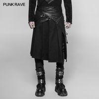 Hombres geniales góticos Pantalones de falda plisada irregular Vintage japonés removible cosplay medio pantalones punk rave hombres