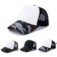 Sublimation Leere Tarnung Mütze Mütze Baumwolle Wärmeübertragung Erreichte Kappe Outdoor Sonnencreme Sun Hüte DIY Party Dekoration HWA6019