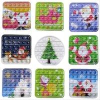 12.3cm Christmas Finger Fidget Push Bubbles Toy for Children Xmas Elk Snowman Party Game Toys Gifts wholesale