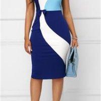 Party Kontrast ärmellose Bodycon-Kleider Plus Größe 4XL 5XL Frauen Designer Mantel ol Arbeit Kleid Sommer Weibliche Farbe