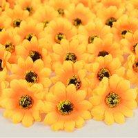 100 pcs mini seda girassol cabeça cabeça diy grinalda scrapbooking acessórios para festa de casamento decoração falsa flores decorativas grinaldas