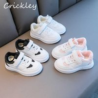 Autumn Winter Plush Children's Shoes PU White Sport Shoes For Boys Girls Running Shoes Soft Anti Slip Hook Loop Kids Sneakers H0917