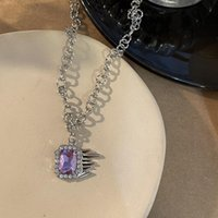 Pendant Necklaces Y2K Purple Crystal Necklace For Women Metal Vintage Charms Elegant Choker Fashion Jewelry 90s Party Gifts