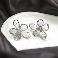 Vendita diretta in fabbrica Micro zircone zircone All-in-One Pure Silver Doppio anello orecchini Personalizzati fiori Semplice ed elegante Elegante
