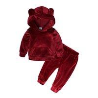 아이들의 옷은 소년 소녀 골드 벨벳 슈트 봄 가을 플러스 아기 아이 따뜻한 스웨터 바지 2 0-7years 011002