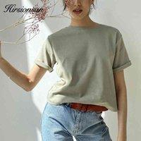 Hirsionan 100% хлопок негабаритный футболка женщин Harajuku базовый свободный с коротким рукавом тройники мягкие женские твердые вершины хаки летняя джемпер Y0508