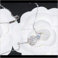 펜던트 드롭 배달 2021 럭셔리 디자이너 쥬얼리 여자 목걸이 펜던트 Camelia Precieux 다이아몬드 꽃 더블 문자 C 패션