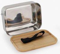 800ml Lebensmittelbehälter-Lunchbox mit Bambus-Deckel Edelstahl Bento-Box Holz Top 1 Schicht Lebensmittel Küchenbehälter EASY FÜR NACH RRE9508