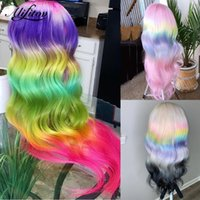 Lace Wigs ALIFITOV Rainbow Human Hair Body Wave Pink Green Lavender Ombre Front Wig Remy Colored For Women