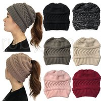 Women Winter Knitted Hat Fashion Ponytail Beanies Solid Color Warm Wool Knitting Cap Christmas Party Hats RRA4416