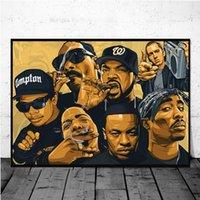 Wall Art Decor Legend School Old School 2pac Biggie Smalls Wu-Tang Nwa Hip Hop Star Star Lienzo Pintura Poster de Seda