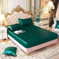 أوراق مجموعات الساتان الحرير ورقة السرير الصيف مزودة الفراش غطاء عارية النوم غير زلة التوأم الملكة السرير