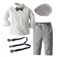 Boys Long Sleeve Clothes for 1 3 5 Years Toddler Set Hat + Shirt + Bow tie + Pants Fashion Party wedding Handsome Gentleman Suit