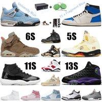 Nike Air Jordan 1 Retro Travis Scott Fragment Basketball Chaussures Hommes 4 Voile British Kaki Carmine 6 Université Bleu Hyper Royal Citrus 13 Court Violet