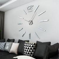 Настенные часы Современный дизайн Мини DIY Большой наклейки наклейки немой цифровой 3D большие часы живущая комната домашний офис декор рождественских подарков