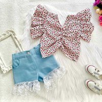 INS Summer Kids Girls Clothing Sets Floral Ruffles Fly Sleeve Shoulder T Shirts Denim Lace Shorts Children Outfits