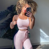 Womens Tracksuits Fitness two Piece Set 2 Workout Clothes Leggings Sports Bra long pant backless Exercise Clothing Female Bodybuilding Suits