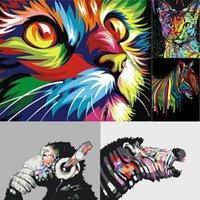 DIY boya by numarası kiti yağlıboya akrilik tuval üzerine renkli hayvan kedi kaplan ev duvar dekor
