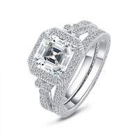 Синтетические алмазные женские обручальные кольца роскоши старший 925 стерлинговые серебро 925 стерлингового серебра вовлечение драгоценности 8 * 8 мм isscher