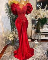2021 Plus Size Arabski ASO EBI Czerwony Syrenka Koronki Prom Dresses Zroszony Sheer Neck Aksamitna Wieczór Formalna Party Druga Recepcja Suknia Sukienka ZJ46
