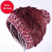 Fashion women's rabbit fur winter beanie hat knitted skis cap female thick warm wool beanies caps rex hats for women