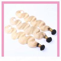 Brezilyalı 100% İnsan Saç 3 Paketler Vücut Dalga 1B 613 Çift Atkı Saç Uzantıları Üç Parça Bir Set 1B 613 Ombre Saç