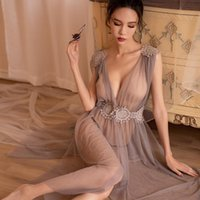 Bras Sets Summer Sexy Women Night Club Evening Slit Dress See Through Mesh Sheer Tulle Long Party Dresses Babydoll Clubwear