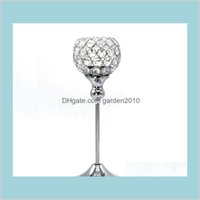"Candle Holders Home Décor & Garden Glass Crystal 12"" 30Cm Tall Wedding Centerpiece Metal Silver Gold Candlestick Stand Drop Delivery 2"