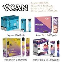 Opções e cigarro descartável Vcan quadrado Shine Honra Pro 2 em 1 Vape Pen Bateria Recarregável 1800 2600 4400 5000 Buffs Cigarros Plus Bang XXL MAX