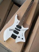 custom stein 6 strings electric guitar,white headless guitar,fixed bridge,24 frets,2 stwich,HSH pickups