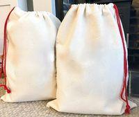 Sublimación en blanco Bricolaje Navidad Santa Saco envoltura Lona grande bolsa de regalo caja de caramelo para Halloween publicidad