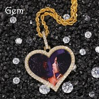 Custom Photos Necklace Fashion Gold Plated Memory Iced Out Heart Pendant Mens Hip Hop Necklaces Jewelry 3426 Q2