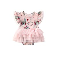 0-24M Ly Summer Infant Baby Girls Cute Sweet Rompers Flowers Print Ruffles Short Sleeve Lace Jumpsuits Clothes 2 Colors Clothing Sets
