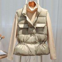 2021 New Autunno Inverno Donne Ultra Light Down Gilet Bianco Duck Down Piumino Breve cappotto Cappotto Parka Ladies Seatcoat senza maniche