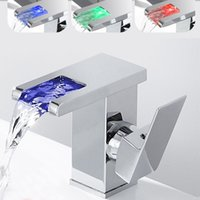 Bathroom Sink Faucets LED RGB Color Waterfall Basin Mixer Tap Single Handle Toilet Accessories ONQ6