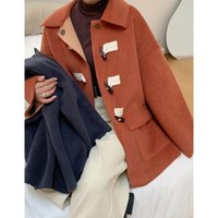 Women's Wool & Blends Ladies 2021 Fashion Woolen Jacket Coat Loose Horn Buckle Winter Warm Big Pocket Overcoat Women