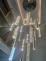الحديث الفاخرة الذهبي الفضة led كريستال الثريا الشمال دوبلكس بناء دوامة الدرج قلادة أضواء غرفة الطعام الفن