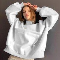 Women's Hoodies & Sweatshirts Casual Solid Oversize Sweatshirt Female 2021 Autumn Turtleneck Long Sleeve Harajuku Sudaderas Pullover Y2k Top