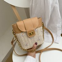 HBP European Retro Style Weave Female Small Handbags Fashion Crossbody Bags Golden Chain Shoulder Messenger INS Hand Water Bucket Package