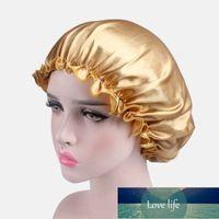 Fashion Bonnet Big Size Head Cover Beauty Solid Color Satin Silk Bonnet for Women Sleep Night Cap Elastic Wide Band Cap Headwrap Factory price expert design Quality