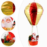 Christmas Hanging Ornament Hot Air Balloon with Santa Ceiling Pendant Indoor Outdoor Festive Holiday Decor